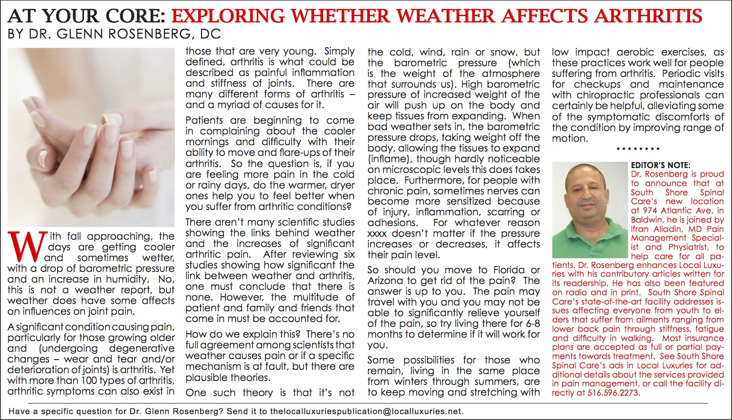 At Your Core: Exploring Whether Weather Affects Arthritis - October
