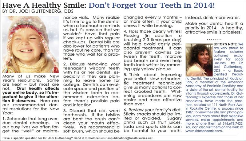 Have A Healthy Smile: Don't Forget Your Teeth In 2014 - January 2014