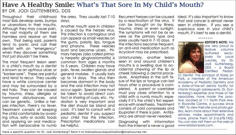 Have A Healthy Smile: What's That Sore In My Child's Mouth? - March ...