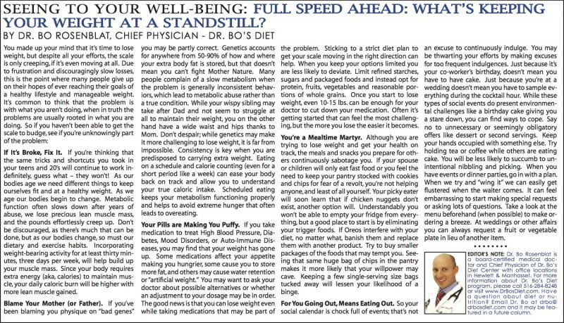 ... Speed Ahead: What's Keeping Your Weight At A Standstill? - April 2014