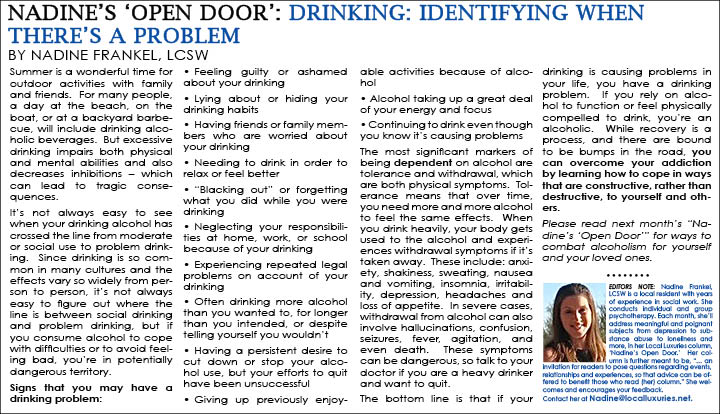 Nadine's 'Open Door': Drinking: Identifying When There's A Problem ...